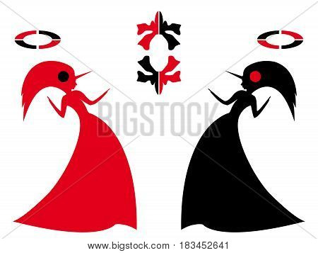 Pair Unicorn Women with symbol and accessories as a concept of unity and struggle opposites stylized vector silhouettes in black and red isolated on the white background