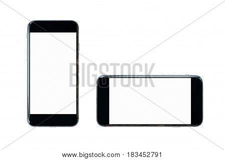 Smartphone With Blank Screen Isolated On White Background.photo Design For Smart Technology And Inte