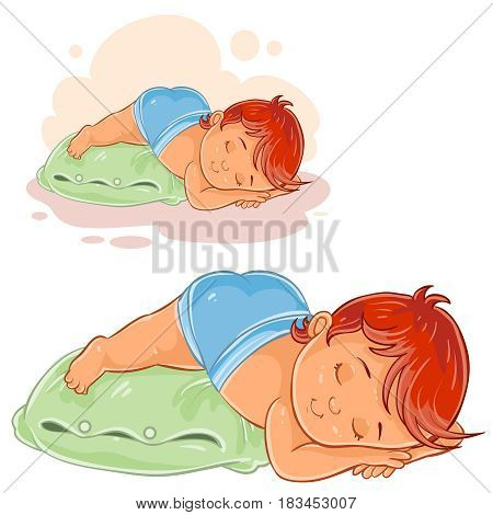 Vector illustration of a little baby in a diaper lies a booty on the pillow and asleep. Print