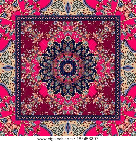 Detailed floral shawl design. Flower mandala and ornamental frame. Ethnic bandana print.