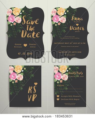 Floral wedding invitation save the date card with rsvp set vintage style