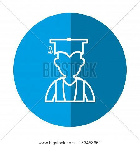 student with gratuation cap icon over blue circle and white background. vector illustration