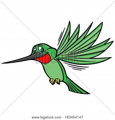 A vector illustration of a cartoon humming bird.
