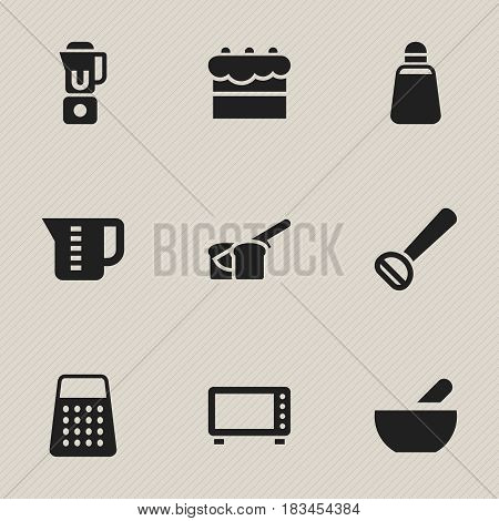 Set Of 9 Editable Cooking Icons. Includes Symbols Such As Mensural, Hand Mixer, Shredder. Can Be Used For Web, Mobile, UI And Infographic Design.