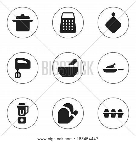 Set Of 9 Editable Food Icons. Includes Symbols Such As Shredder, Egg Carton, Kitchen Glove And More. Can Be Used For Web, Mobile, UI And Infographic Design.