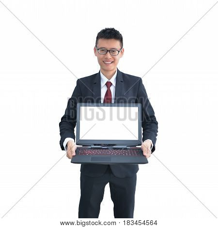 Asian Business Man Showing His Laptop, Free Space For Text Or Picture In Screen, Isolated On White B