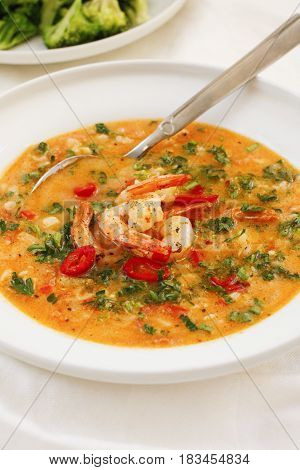 Hearty Tomato Soup With Prawns On White Platter