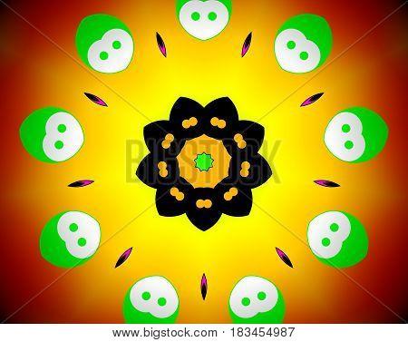 Abstract Mandala Illustration Yin Yang Faces