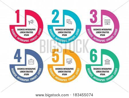 Infographic vector concept illustration for presentation, booklet, website and other design project. Step numbered options creative layouts. Abstract circle shapes and icons.