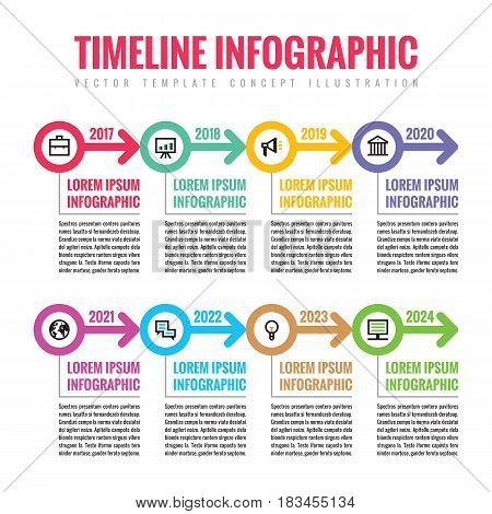 Infographic business vector concept in flat style - horizontal timeline template with arrows and icons for presentation, booklet, web and other creative design projects.