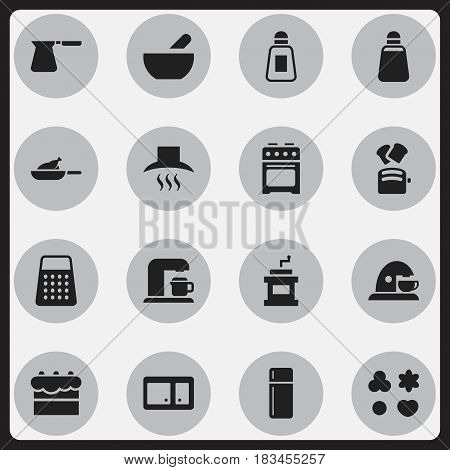 Set Of 16 Editable Meal Icons. Includes Symbols Such As Slice Bread, Mocha Grinder, Kitchen Hood And More. Can Be Used For Web, Mobile, UI And Infographic Design.