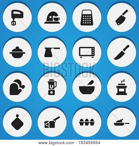 Set Of 16 Editable Food Icons. Includes Symbols Such As Shredder, Mocha Grinder, Egg Carton And More. Can Be Used For Web, Mobile, UI And Infographic Design.