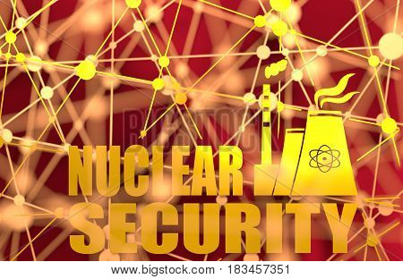 Atomic power station icon. Nuclear security text. Molecule And Communication Background. Connected lines with dots. 3D rendering. Metallic material
