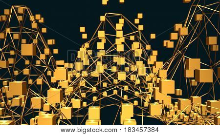 Molecule And Communication Background. Lines and nuts. Technology, chemistry, science relative. Shallow depth of field. 3D rendering. Metallic material