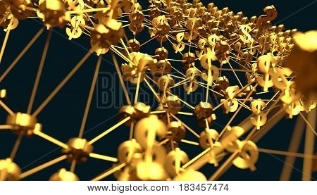 Molecule And Communication Background.  Dollar symbol. Technology and finance relative. Shallow depth of field. 3D rendering. Metallic material