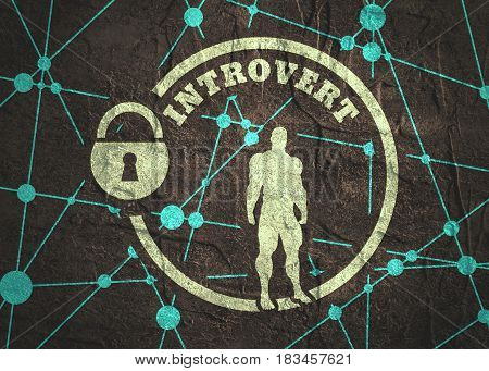 introvert simple icon metaphor. image relative to human psychology. muscular man in the locked circle. Molecule And Communication Background. Connected lines with dots. Grunge concrete texture