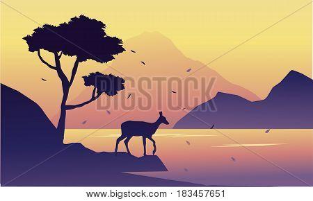 Silhouette of deer on riverbank landscape vector art