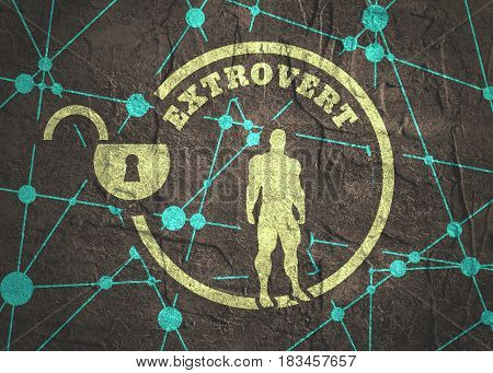 extrovert simple icon metaphor. image relative to human psychology. muscular man in the unlocked circle. Molecule And Communication Background. Connected lines with dots. Concrete grunge texture