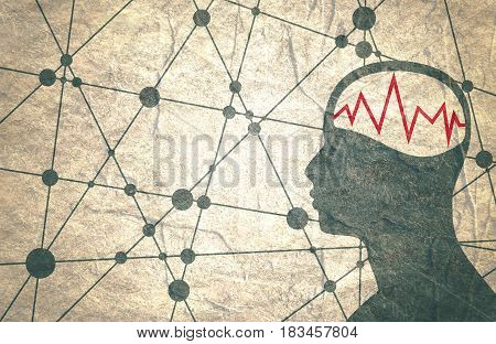 Silhouette of a man's head with oscillogram. Mental health relative brochure, report or flyer design template. Scientific medical designs. Connected lines with dots. Grunge concrete texture