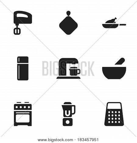 Set Of 9 Editable Food Icons. Includes Symbols Such As Stove, Soup, Agitator And More. Can Be Used For Web, Mobile, UI And Infographic Design.
