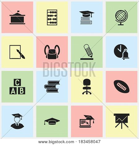 Set Of 16 Editable University Icons. Includes Symbols Such As Education, Alphabet Cube, Earth Planet And More. Can Be Used For Web, Mobile, UI And Infographic Design.
