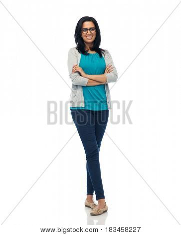fashion, portrait and people concept - happy smiling young indian woman in glasses