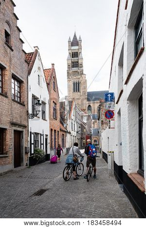 Bruges Belgium - July 29 2016: Cityscape of the city of Bruges. The historic city centre is a World Heritage Site of UNESCO. It is known for his picturesque cobbled lanes and dreamy canals