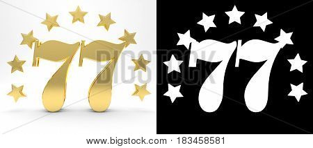 Golden number seventy seven on white background with drop shadow and alpha channel decorated with a circle of stars. 3D illustration
