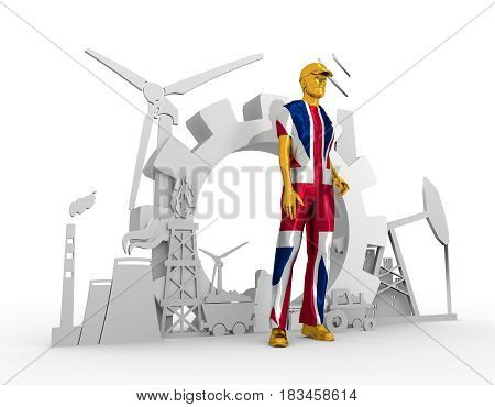 Young man wearing apron textured by flag of the Britain. Bearded worker at industrial isometric icons set. 3D rendering. Metallic material. Energy generation and heavy industry.