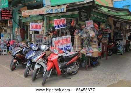 HO CHI MINH CITY VIETNAM - NOVEMBER 29, 2016: Motorbike rental shop in downtown Ho Chin minh City.
