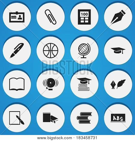 Set Of 16 Editable Graduation Icons. Includes Symbols Such As Nib, Basket Play, Bookmark And More. Can Be Used For Web, Mobile, UI And Infographic Design.