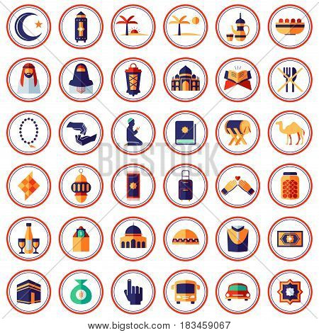 A vector illustration of Muslim and Islam Themed Icons