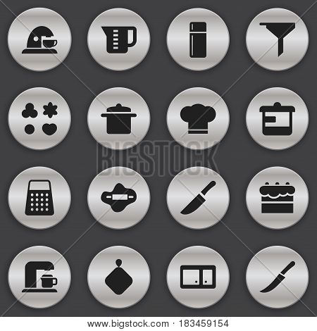 Set Of 16 Editable Meal Icons. Includes Symbols Such As Sideboard, Drink Maker, Utensil And More. Can Be Used For Web, Mobile, UI And Infographic Design.