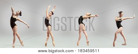 Collage of beautiful ballet dancer on gray background