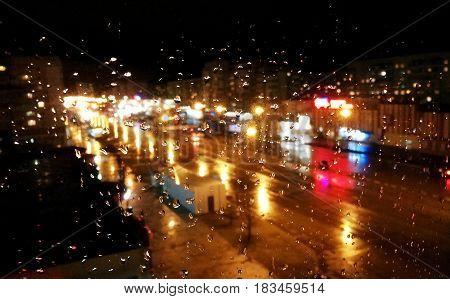Rain on the window rain on the window outside the city window in the city rain