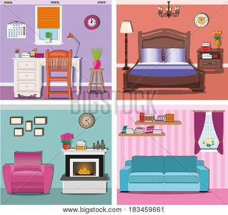Stylish modern graphic rooms set - living room, bedroom, home office with workplace. Colorful vector furniture. Room interiors