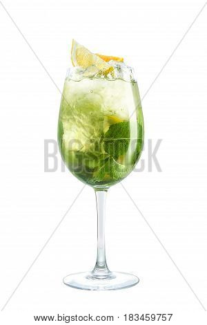 Cocktail in high fouge on white background