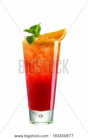 Red cocktail with orange on white background