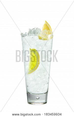 Cocktail with lemon and ice on a white background