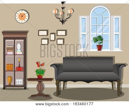Stylish vintage room with comfortable and functional furniture. Sofa, table, bookcase, chandelier, clock, and window. Interior Design Ideas. Flat style vector illustration