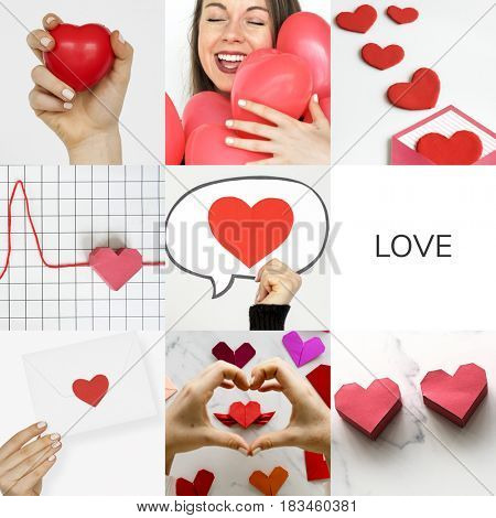 Adult Woman with Love Heart Artwork Studio Collage