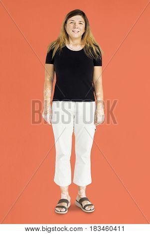 Adult Woman Stand Gesture Studio Portrait