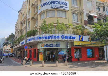 HO CHI MINH CITY VIETNAM - NOVEMBER 30, 2016: Unidentified people visit tourist information office in downtown Ho Chi minh City.