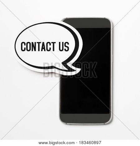 Contact us text in a speech bubble with a smartphone. Speech balloon cut from cardboard. Information button, icon or banner for website, social media or brochure with a white paper background.
