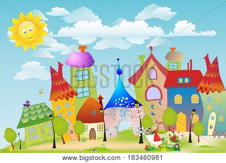 composition with colorful houses and the girl that goes with wheelbarrows