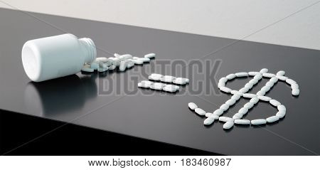 Medical business or prices concept. Making money in pharmaceutical industry or high medical expenses. Medicine spilling out of a package on table. Pill bottle equals dollar sign written with pills.