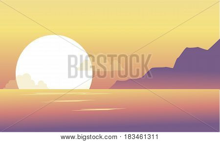 Silhouette of hill and lake at the morning scenery vector art