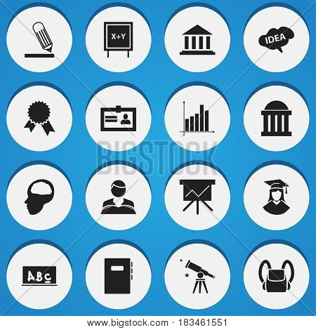 Set Of 16 Editable Education Icons. Includes Symbols Such As Schoolbag, Victory Medallion, Writing And More. Can Be Used For Web, Mobile, UI And Infographic Design.