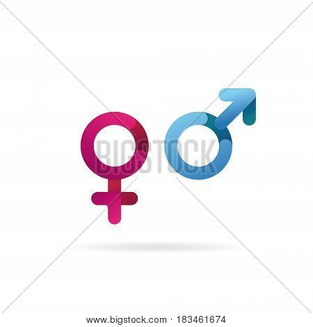 Gender symbol. Sex icons. Pink and blue isolated vector