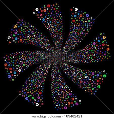 Finance fireworks swirl rotation. Vector illustration style is flat bright multicolored iconic symbols on a black background. Object twirl constructed from random pictographs.